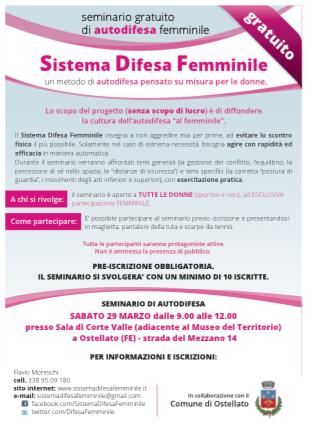 Locandina Sistema Difesa Femminile Ostellato marzo 2014